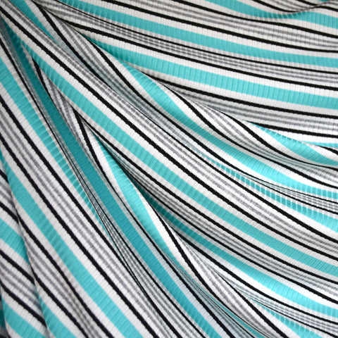 Summer Stripe Rib Jersey Knit Aqua