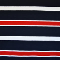 Nautical Stripe Jersey Knit Navy/Red - Fabric - Style Maker Fabrics