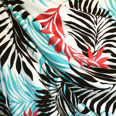 Tropical Foliage Jersey Knit Aqua/Coral SY - Selvage Yard - Style Maker Fabrics