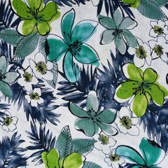 Tropical Watercolor Floral Linen Shirting Cream/Jade - Sold Out - Style Maker Fabrics
