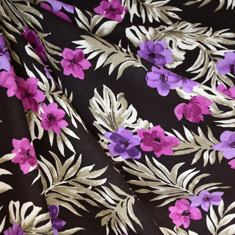 Tropical Floral Linen Blend Shirting Espresso/Plum
