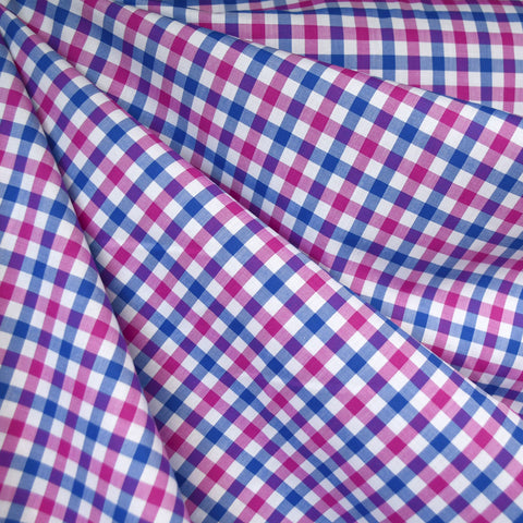 Two Tone Check Shirting Fuchsia/Blue