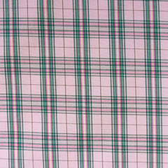 Stretch Plaid Cotton Shirting Coral/Jade - Fabric - Style Maker Fabrics
