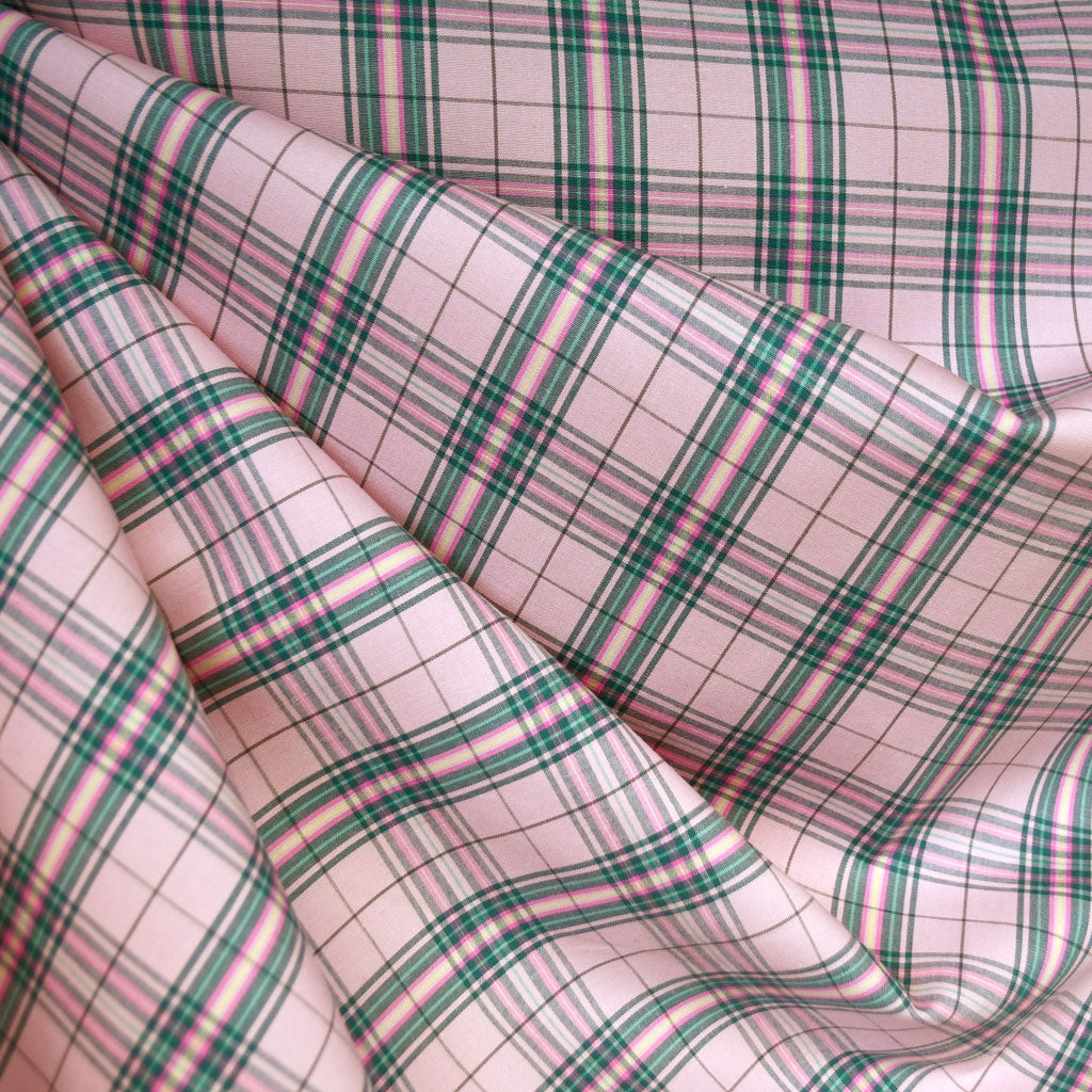 Stretch Plaid Cotton Shirting Coral/Jade SY - Selvage Yard - Style Maker Fabrics