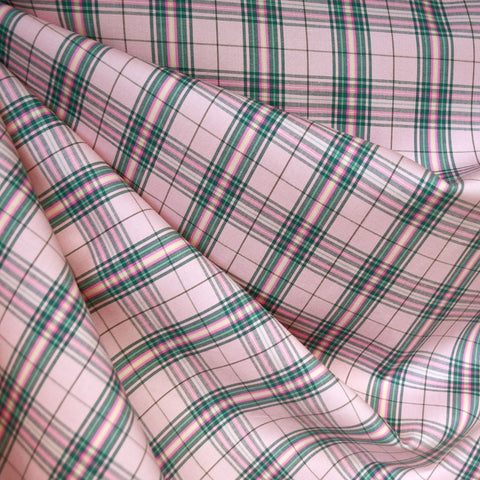 Stretch Plaid Cotton Shirting Coral/Jade
