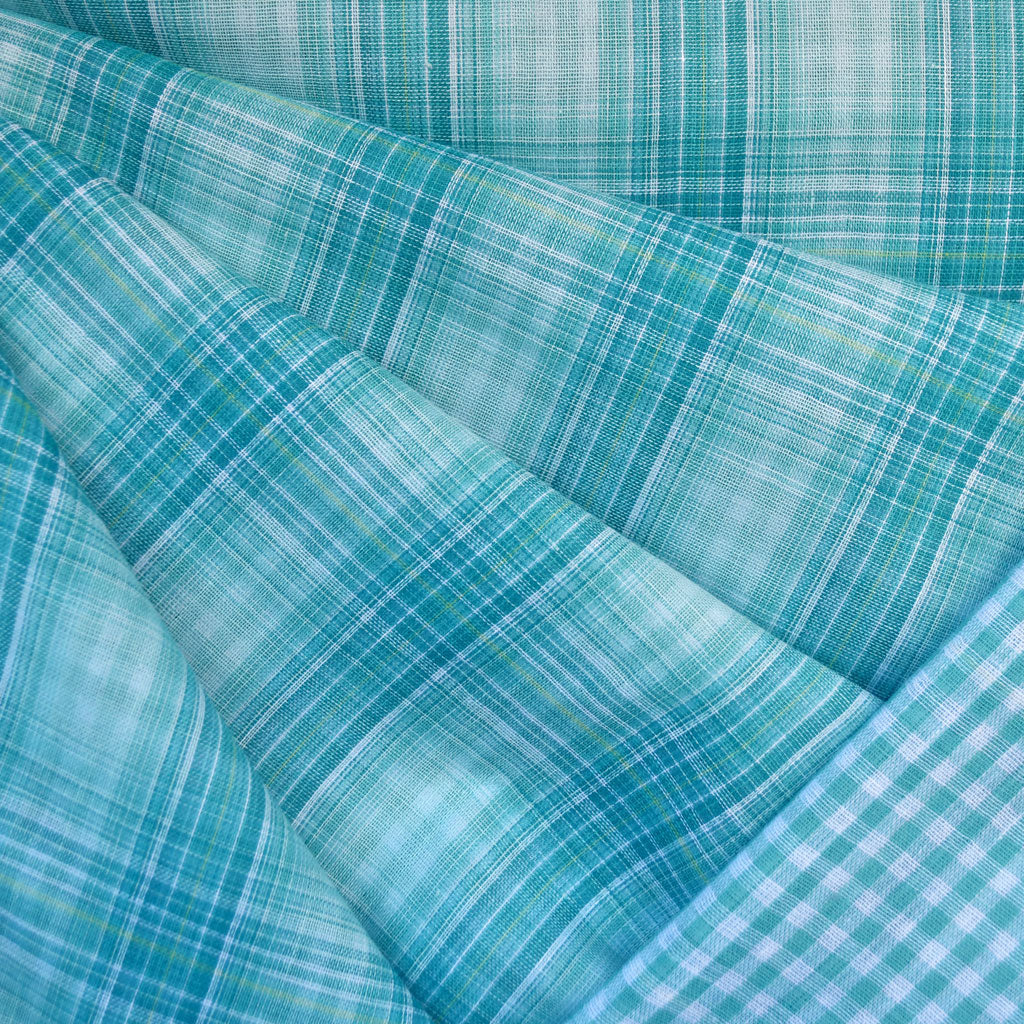 Plaid and Check Double Cloth Turquoise - Fabric - Style Maker Fabrics