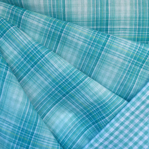 Plaid and Check Double Cloth Turquoise