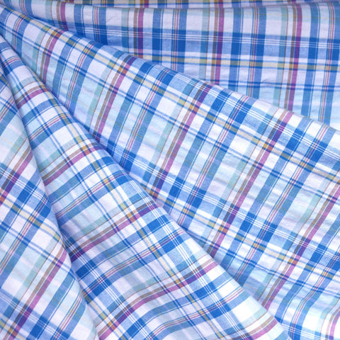 Spring Plaid Cotton Shirting Soft Blue/White