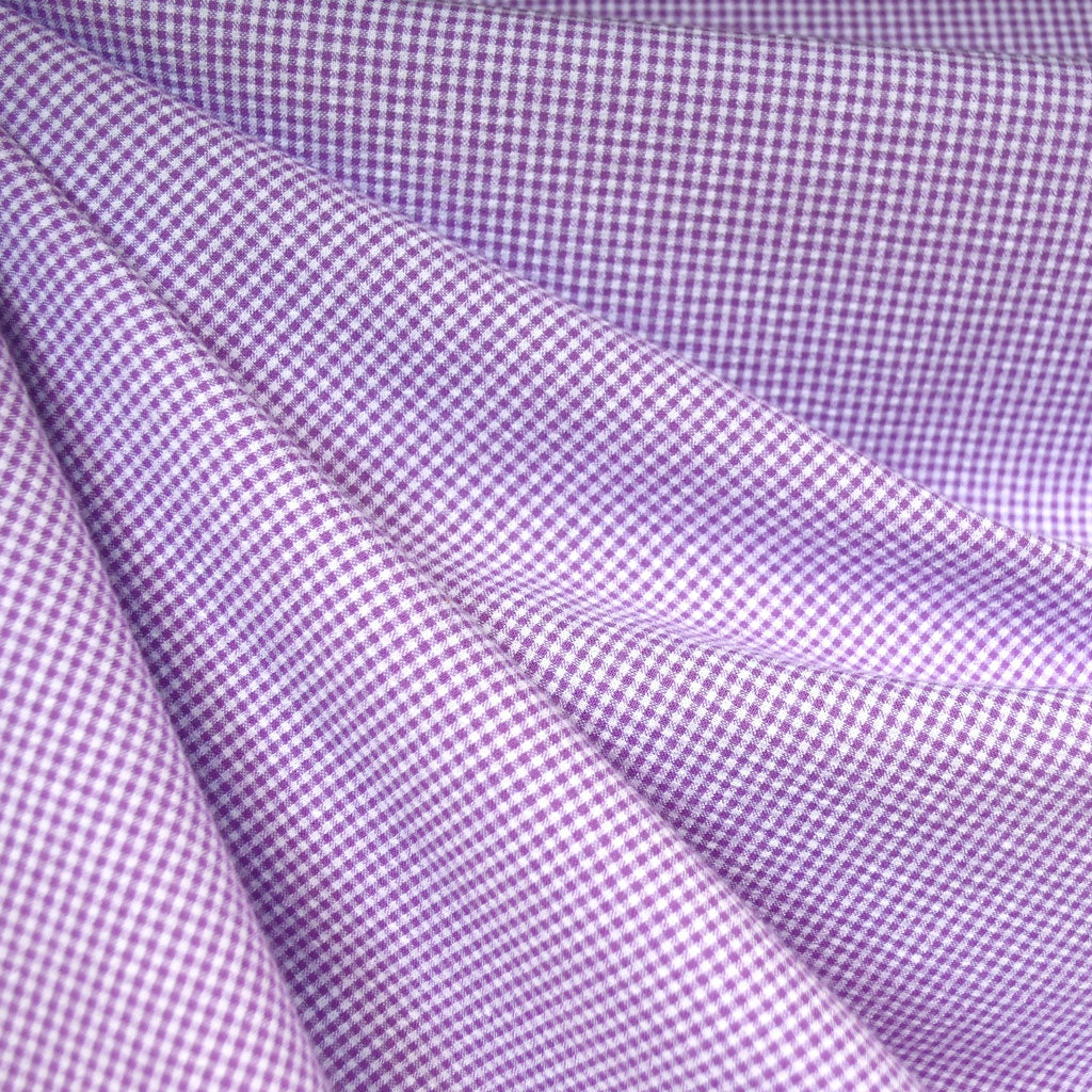 Tiny Gingham Seersucker Shirting Lavender - Fabric - Style Maker Fabrics