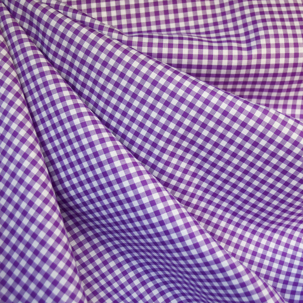 Classic Gingham Cotton Shirting Plum SY - Sold Out - Style Maker Fabrics