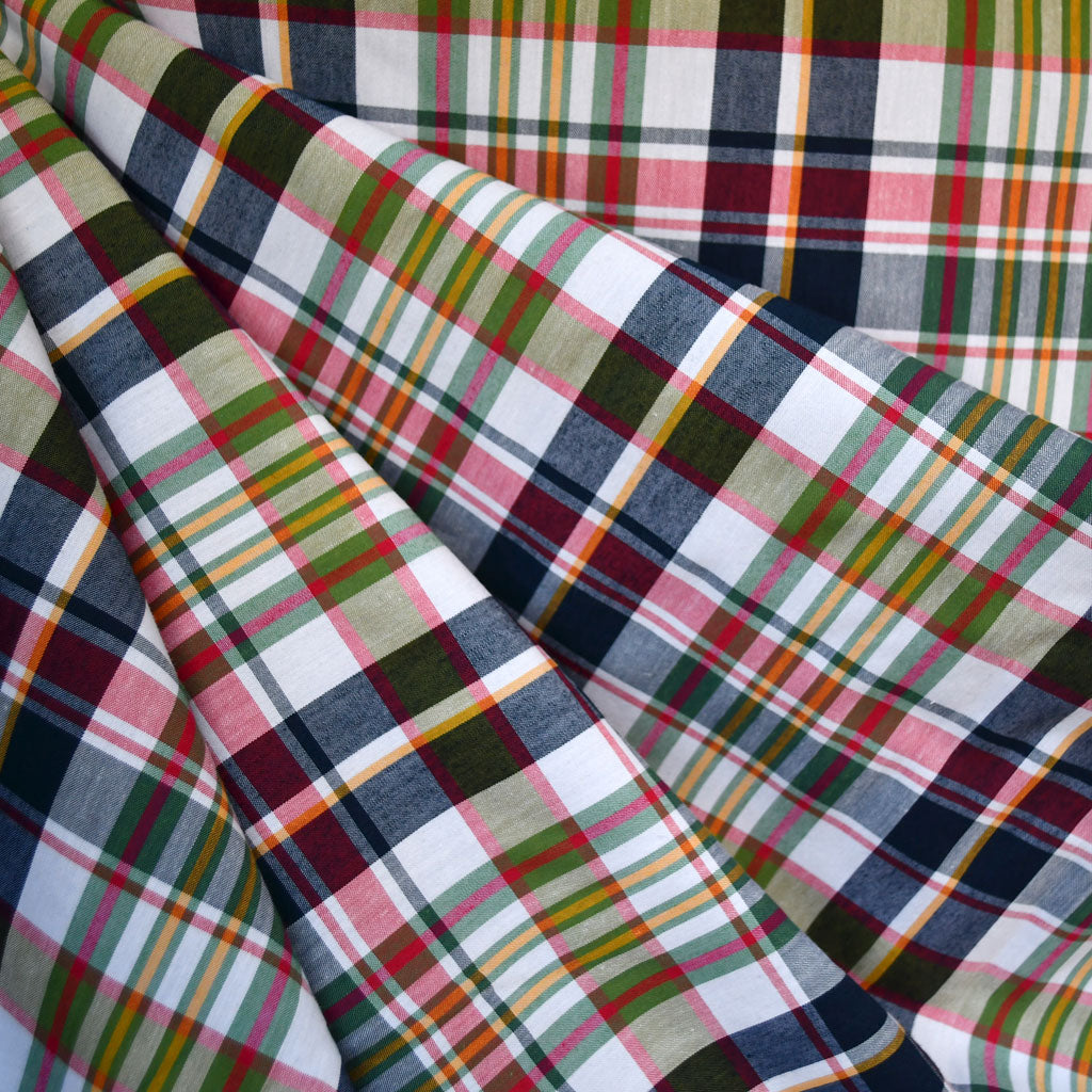 Summer Plaid Cotton Shirting White/Multi - Sold Out - Style Maker Fabrics
