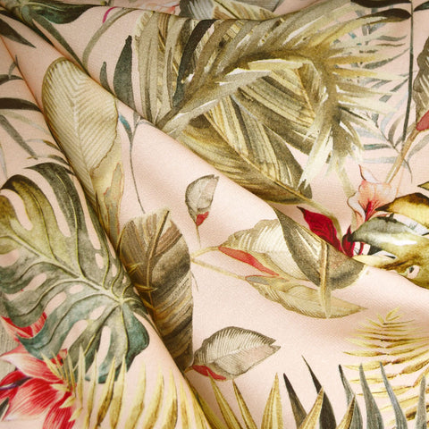 Tropical Floral Rayon Crepe Soft Peach