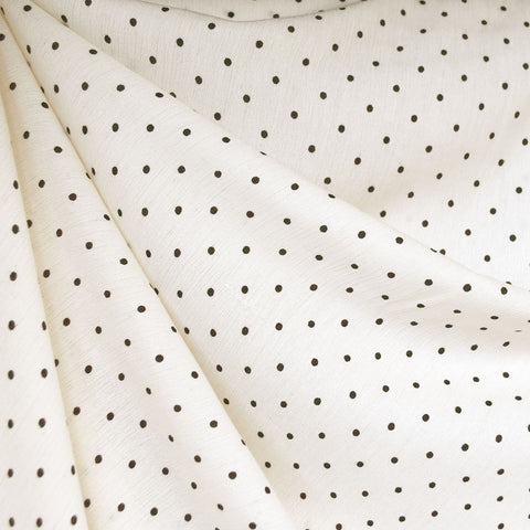 Rayon Crepe Polka Dot Cream/Black