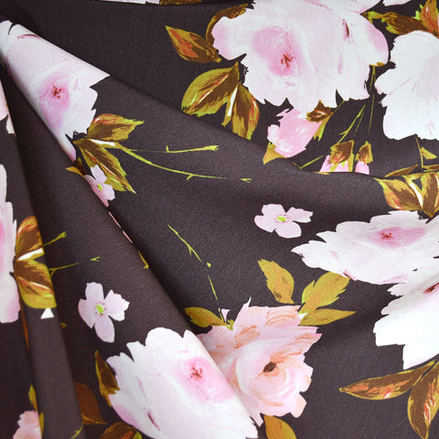Romantic Floral Rayon Crepe Taupe/Pink
