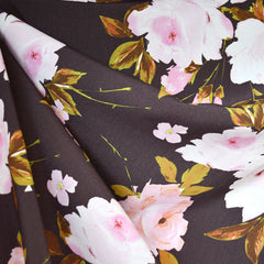 Romantic Floral Rayon Crepe Taupe/Pink - Sold Out - Style Maker Fabrics