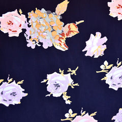 Spring Roses Rayon Crepe Navy/Lavender - Fabric - Style Maker Fabrics