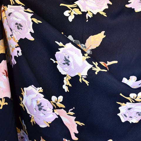 Spring Roses Rayon Crepe Navy/Lavender SY