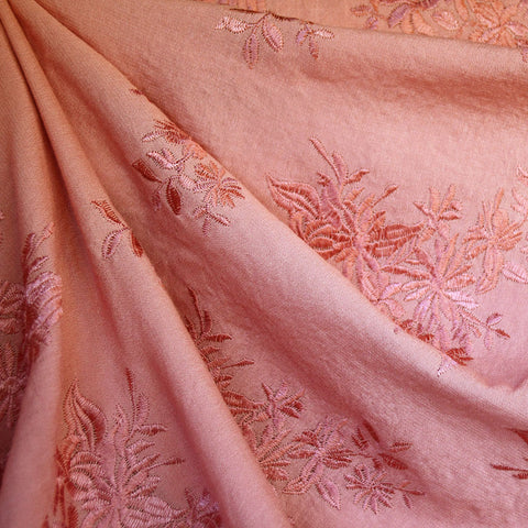 Tonal Floral Embroidered Rayon Crepe Salmon