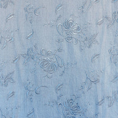 Tonal Floral Embroidered Rayon Crepe Sky SY - Sold Out - Style Maker Fabrics