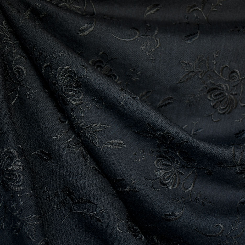Tonal Floral Embroidered Rayon Crepe Black - Fabric - Style Maker Fabrics