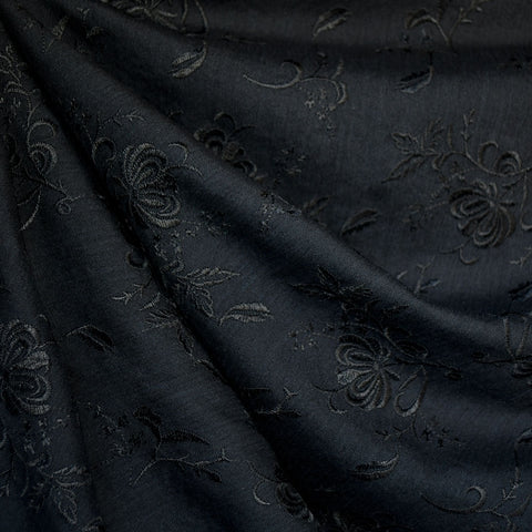 Tonal Floral Embroidered Rayon Crepe Black
