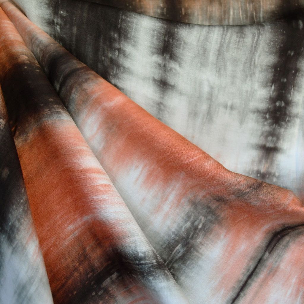 Hand Dyed Ombre Stripe Rayon Challis Coral/Grey - Sold Out - Style Maker Fabrics