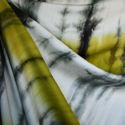 Hand Dyed Ombre Stripe Rayon Challis Citron/Grey
