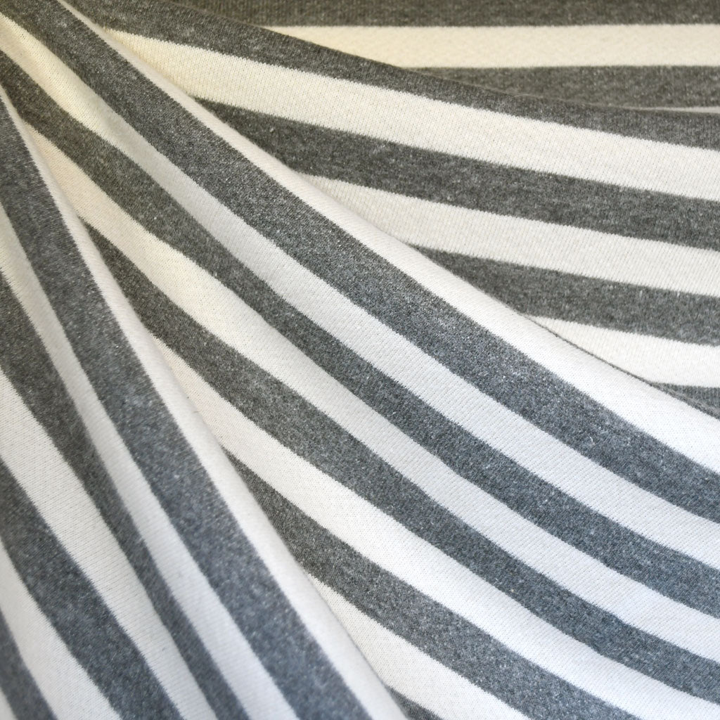 Thick Cozy French Terry Stripe Grey/Cream SY - Sold Out - Style Maker Fabrics