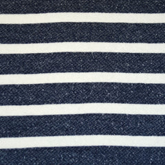 Thick Cozy French Terry Stripe Indigo/Cream - Sold Out - Style Maker Fabrics