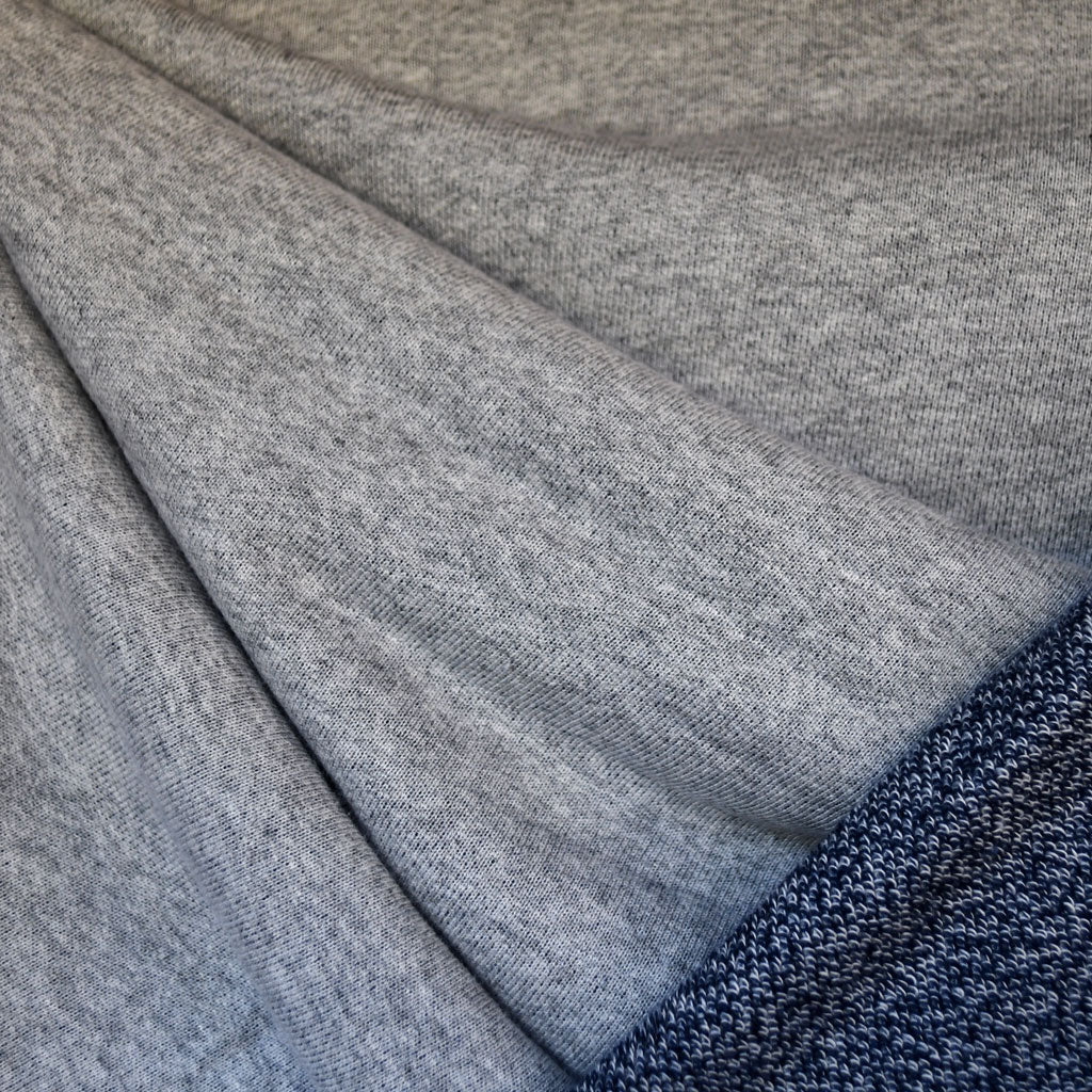 Double Yarn French Terry Heather Grey/Indigo SY - Sold Out - Style Maker Fabrics