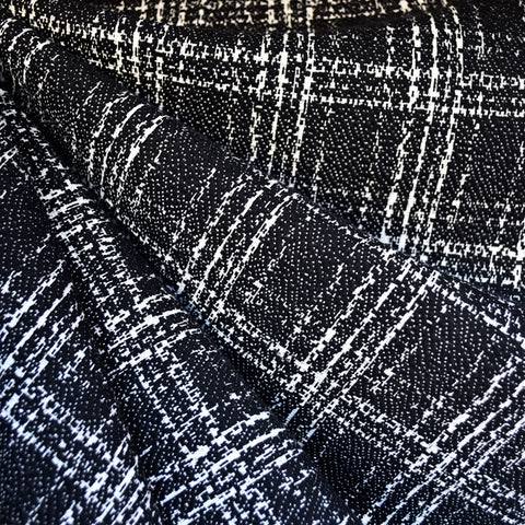 Textured Plaid Double Knit Black/White