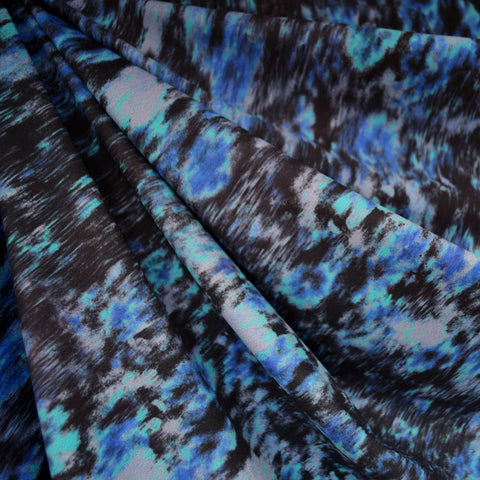 Abstract Watercolor Athletic Scuba Knit Blue/Black