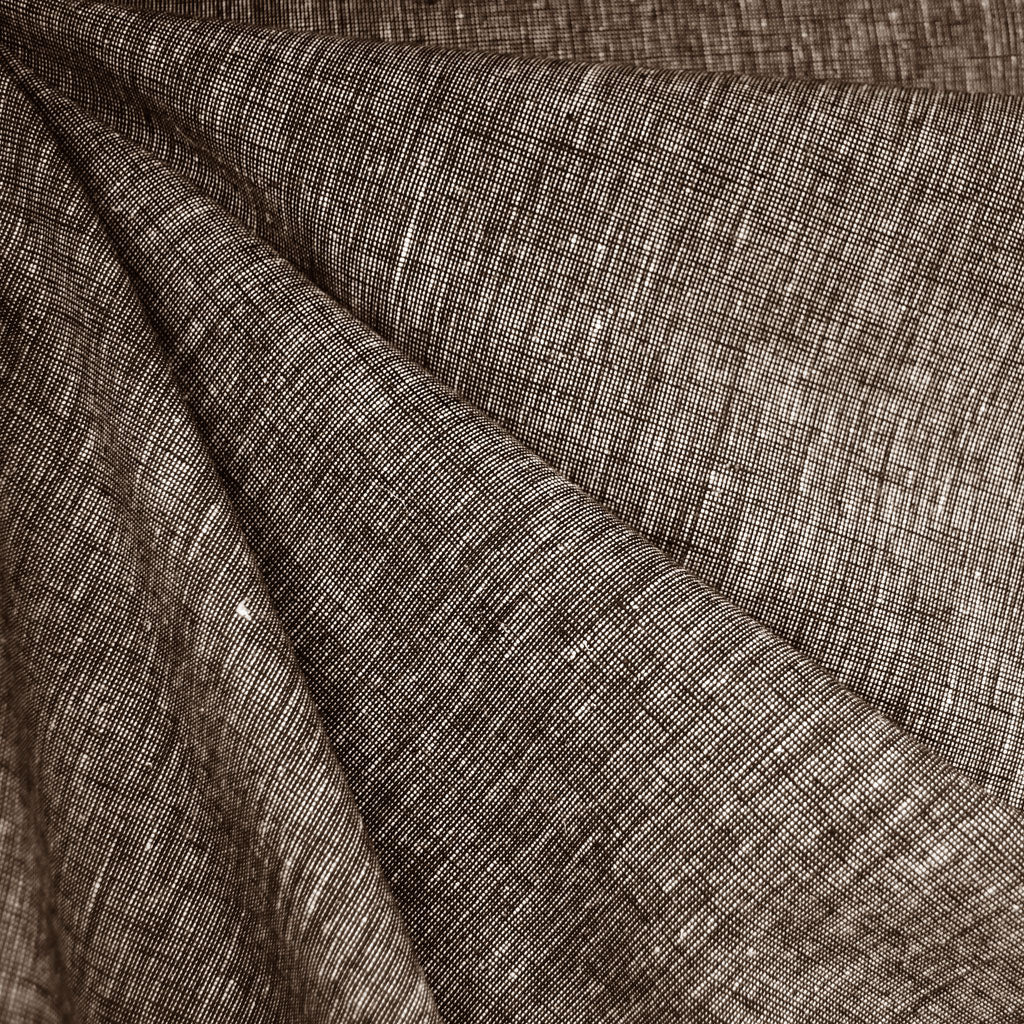 Cross Woven Linen Blend Shirting Chocolate - Sold Out - Style Maker Fabrics
