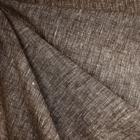 Cross Woven Linen Blend Shirting Chocolate