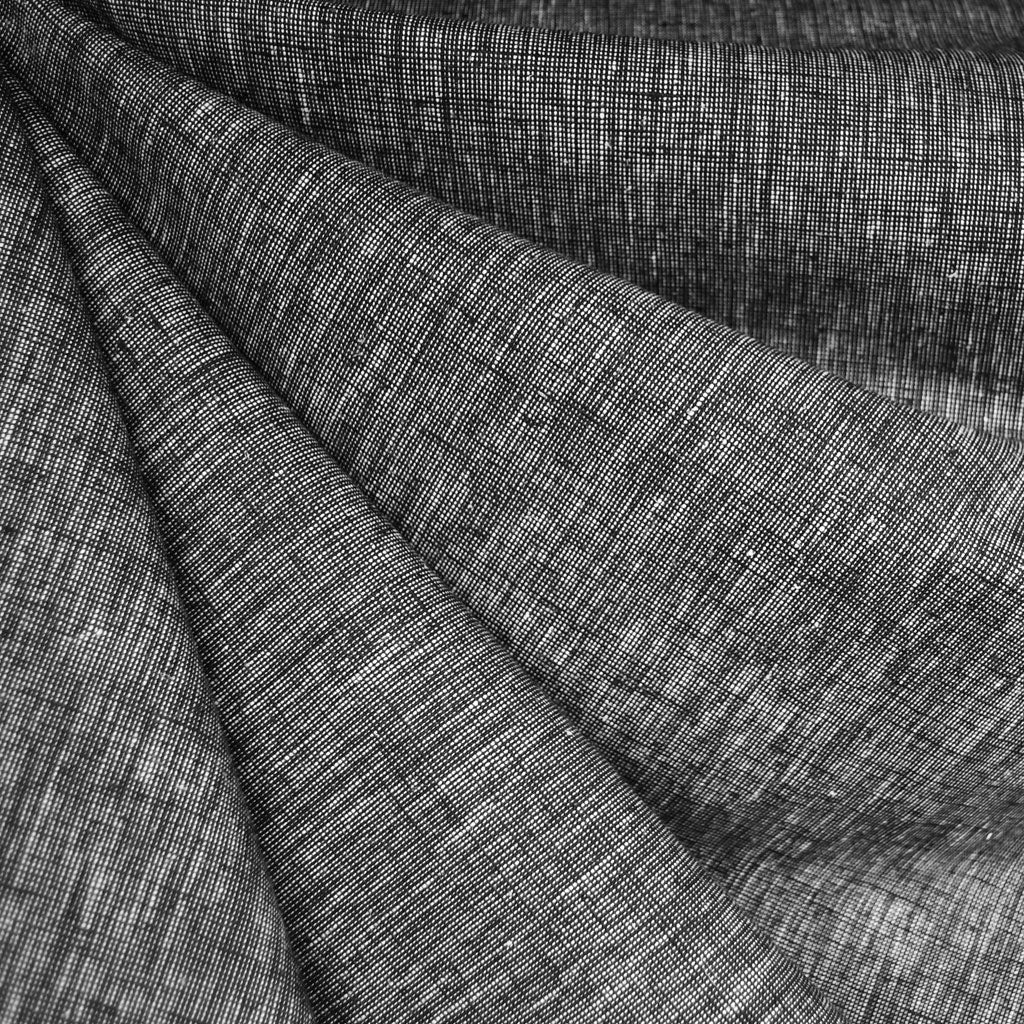 Cross Woven Linen Blend Shirting Black - Sold Out - Style Maker Fabrics