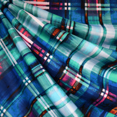 Abstract Plaid Athletic Scuba Knit Blue - Fabric - Style Maker Fabrics