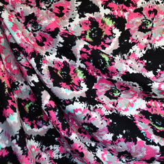 Texture Double Knit Burst Floral Black/Pink SY - Sold Out - Style Maker Fabrics