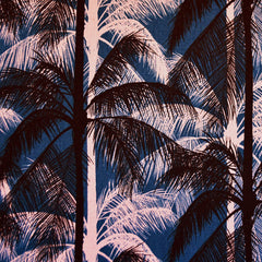 Poolside Palms Linen Blend Canvas Blue SY - Sold Out - Style Maker Fabrics