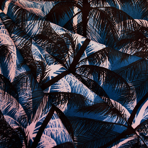 Poolside Palms Linen Blend Canvas Blue