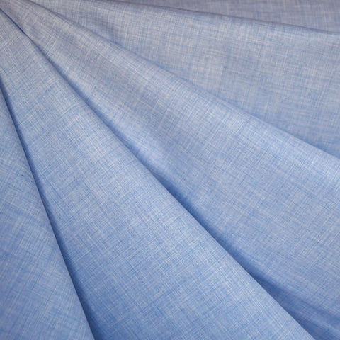 Yarn Dyed Melange Cotton Shirting Blue