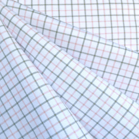 Grid Plaid Brushed Shirting Pink/Grey SY