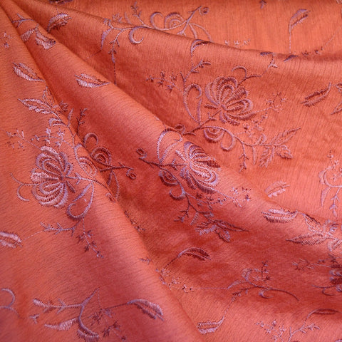 Tonal Floral Embroidered Rayon Crepe Coral