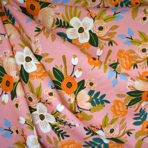 Amalfi Lively Floral Rayon Poplin Coral