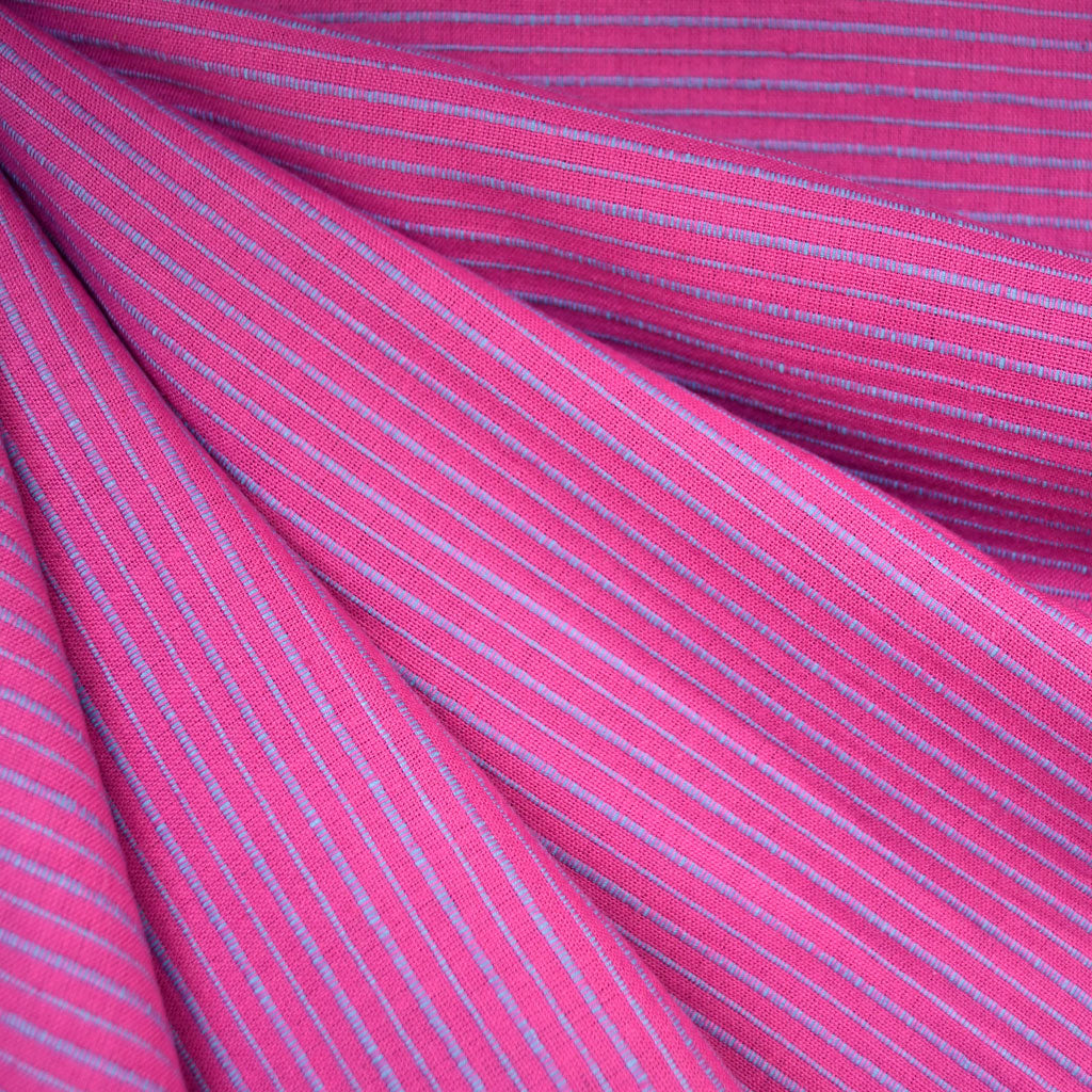 Mariner Cloth Stripe Shirting Fuchsia/Blue - Fabric - Style Maker Fabrics
