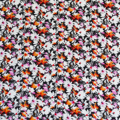 Daisy Collage Rayon Challis Black/Fuchsia - Sold Out - Style Maker Fabrics