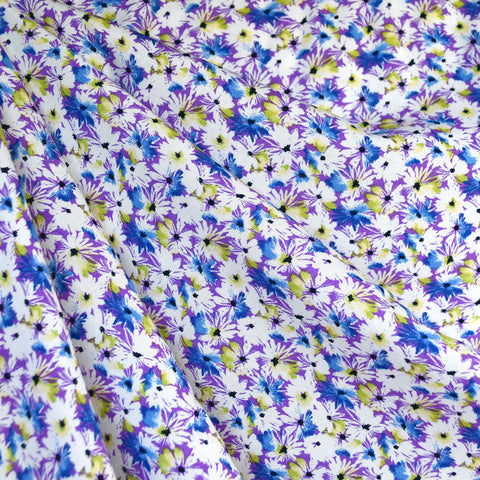 Daisy Collage Rayon Challis Violet/White SY
