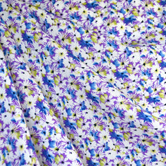 Daisy Collage Rayon Challis Violet/White - Fabric - Style Maker Fabrics