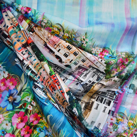 Wanderlust Italy Cityscape Border Digital Print Cotton Multi