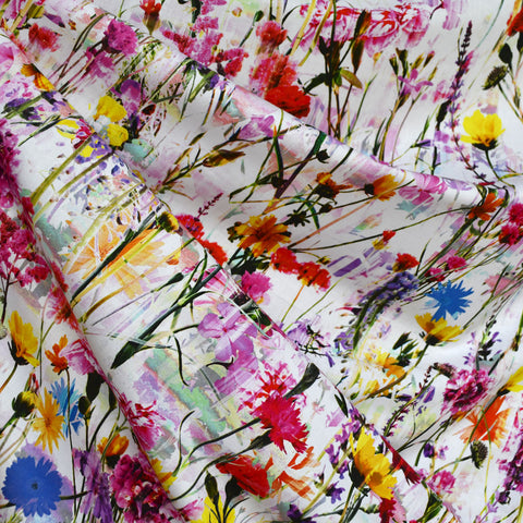 Wild Flower Meadow Border Digital Print Cotton Multi