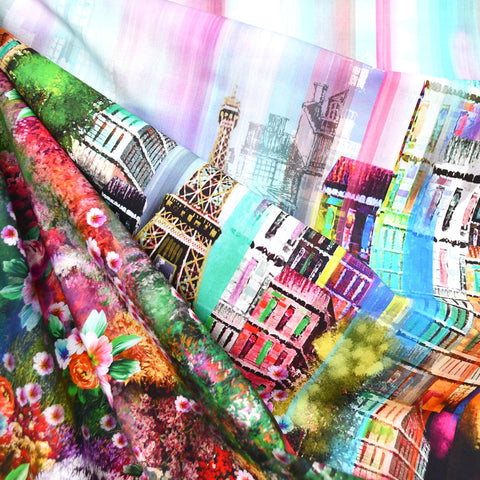Wanderlust Paris Cityscape Border Digital Print Cotton Multi